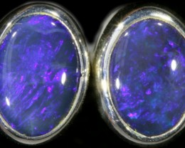 1.30 CTS Black opal earrings set in  silver  SB 543