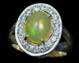 37.93Ct 925 Silver Ring Sz 7 / Natural Ethiopian Welo Opal