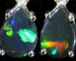 6.00 CTS 9K WHITE GOLD OPAL EARRINGS FROM LIGHTNING RIDGE [SOJ5626]