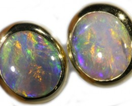 5.70 CTS 9K GOLD OPAL EARRINGS FROM LIGHTNING RIDGE [SOJ5627]