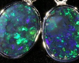 9.05 CTS SILVER OPAL EARRINGS FROM LIGHTNING RIDGE [SOJ5633]