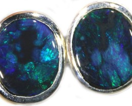 7.25 CTS SOLID OPAL EARRINGS -SILVER [SOJ5635]