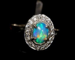 9.88Ct 925 Silver Ring Sz 7 / Natural Ethiopian Welo Opal