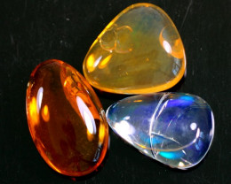 52.65Ct / 3Pcs Ethiopian Welo Polished Specimen Opal