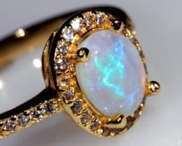 1.2ct 8x6mm Solid Crystal Opal Gold Plated CZ Ring Size 10.5