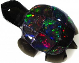 6.20 CTS FIREY  MEXICAN OPAL TURTLE CARVING [VS7494]