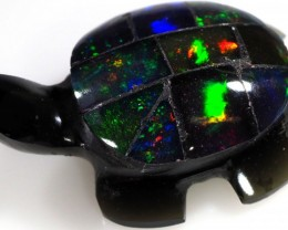 8.20 CTS FIREY  MEXICAN OPAL TURTLE CARVING [VS7503]