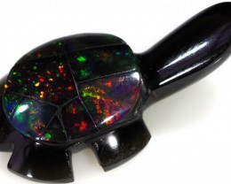6.50 CTS FIREY  MEXICAN OPAL TURTLE CARVING [VS7506]