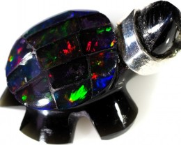 18.80 CTS FIREY  MEXICAN OPAL TURTLE CARVING [VS7510]
