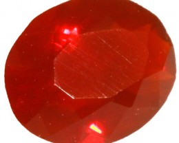 0.50 CTS  RED MEXICAN FIRE OPAL -FACETED-TOP POLISH. [VS7523]