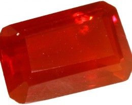 1.40 CTS  RED MEXICAN FIRE OPAL -FACETED-TOP POLISH. [VS7525]