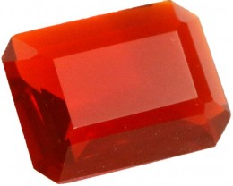 0.70 CTS  RED/ORANGE  MEXICAN FIRE OPAL -FACETED-TOP POLISH. [VS7526]