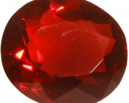 0.95 CTS  RED MEXICAN FIRE OPAL -FACETED-TOP POLISH. [VS7527]