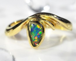 BLACK OPAL RING SIZE 7   18 K  GOLD   CK 244