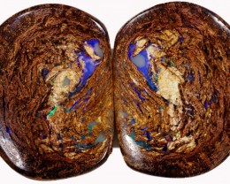 24.35 CTS PAIR BOULDER WOOD FOSSIL REPLACEMENT [BMA4377]
