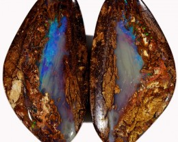 33.75 CTS PAIR BOULDER WOOD FOSSIL REPLACEMENT [BMA4380]