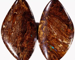 35.30 CTS PAIR BOULDER WOOD FOSSIL REPLACEMENT [BMA4386]