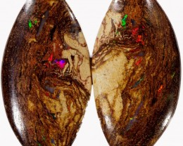 20.40 CTS PAIR BOULDER WOOD FOSSIL REPLACEMENT [BMA4388]