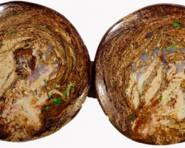 31.50 CTS PAIR BOULDER WOOD FOSSIL REPLACEMENT [BMA4390]