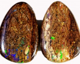 31.05 CTS PAIR BOULDER WOOD FOSSIL REPLACEMENT [BMA4392]