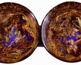 45.45 CTS PAIR BOULDER WOOD FOSSIL REPLACEMENT [BMA4398]
