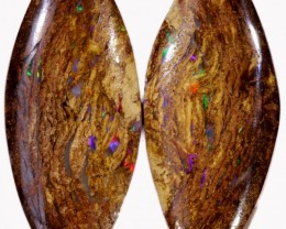 30.15 CTS PAIR BOULDER WOOD FOSSIL REPLACEMENT [BMA4399]