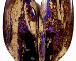 78.50 CTS PAIR BOULDER WOOD FOSSIL REPLACEMENT [BMA4407]