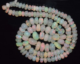 37.35 Ct Natural Ethiopian Welo Opal Beads Play Of Color