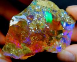 337Ct Big Violet Green Ethiopian Welo Rough Specimen Rough Opal