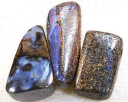 43.60 CTS BOULDER  OPAL POLISHED DRILLED PARCEL 3PCS IN-11