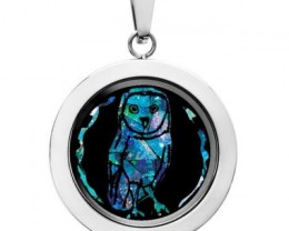 Owl Opal locket ,opal etched  SB550