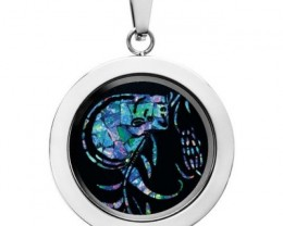 Possum Opal locket ,opal etched  SB553