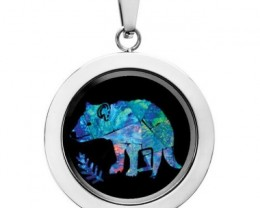 Tasmania devil Opal locket ,opal etched  SB558