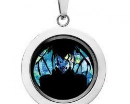 Bat Opal locket ,opal etched  SB560