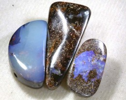 96.60 CTS BOULDER  OPAL POLISHED DRILLED PARCEL 3PCS IN-14