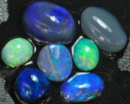 18.20cts Australian Soild Black ROUGH Opal Lightning Ridge 7 pcs