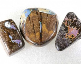 112.55 CTS BOULDER  OPAL POLISHED DRILLED PARCEL 3PCS IN-17