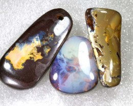 105.10CTS BOULDER  OPAL POLISHED DRILLED PARCEL 3PCS IN-19