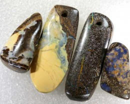 102.4CTS BOULDER  OPAL POLISHED DRILLED PARCEL 4PCS IN-22