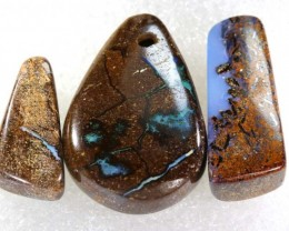 77.15CTS BOULDER  OPAL POLISHED DRILLED PARCEL 3PCS IN-25