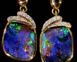24.20 TCW  BOULDER OPALS SET IN 10K YELLOW GOLD EARRINGS SB 570