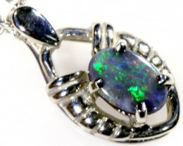 SOLID OPAL SET IN 18K WHITE GOLD PENDANT TOP SB594