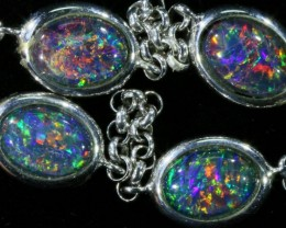 14.95 Fire Opal triplet  Bracelet , top design sterling silver  SB 605