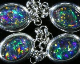 15.10 cts Fire Opal triplet  Bracelet , top design sterling silver  SB 602