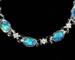 Fire Opal triplet  Bracelet , top design sterling silver  SB 615