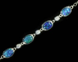Fire Opal triplet  Bracelet , top design sterling silver  SB 616