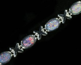 Fire Opal triplet  Bracelet , top design sterling silver  SB 617