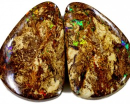 36.9 Cts Pair Boulder Wood Fossil CF888