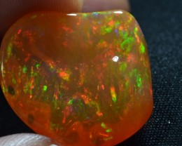 27ct Brilliant Mexican Fire Water Bright Carved Opal
