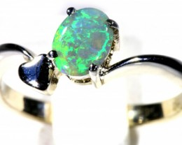 SIZE 5 CRYSTAL OPAL SET IN 18K WHITE GOLD RING CJ931